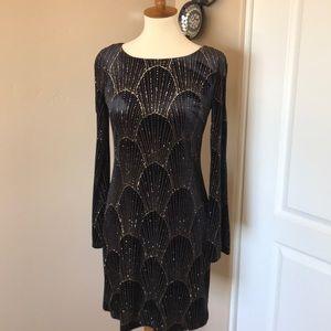 NWT Eliza J black velvet glitter magic dress Sz 6